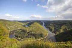 Saarschleife. Loop of the river Saar near Mettlach, Germany Royalty Free Stock Photography