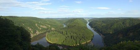 Saarschleife - river Saar. View of a river Saar with Saarschleife by city Orscholz ,  Saarland/Germany, panoramic Royalty Free Stock Image
