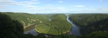 Saarschleife - rivier Saar Royalty-vrije Stock Afbeelding