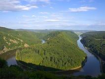 Saarschleife - rivier Saar Stock Afbeelding