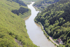Saarschleife. Thr river saar turn around the hill in saarland germany by city orscholz Stock Images