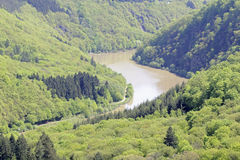 Saarschleife. Thr river saar turn around the hill in saarland germany by city orscholz Royalty Free Stock Photos