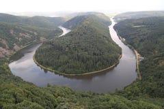 The Saarschleife. View of the river loop `Saar` in Germany Stock Image