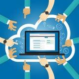 SaaS软件,中央服务云彩应用通入互联网订阅依据主持了在要求时的软件 向量例证