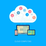 Saas cloud network and device analytics flat icon Royalty Free Stock Images