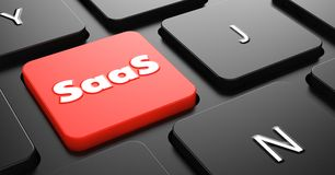 SAAS Concept on Red Keyboard Button. Royalty Free Stock Images