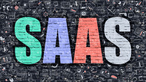 SAAS on Dark Brick Wall. Royalty Free Stock Photos