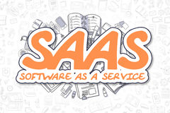SaaS - Doodle Orange Text. Business Concept. Royalty Free Stock Photo