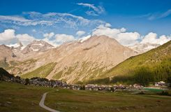 Saas fee. Village sorrounded with high alps on sunset, , swiss royalty free stock photos