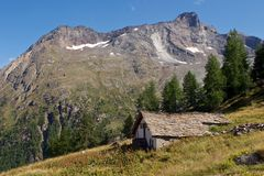 Saas Fee in Summer. An old mountain hut in the ski resort of Saas Fee in the summer Stock Image