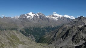 Saas Fee valley and high mountains Stock Photography