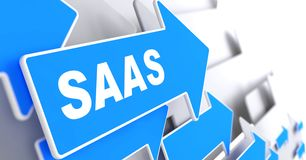 SAAS.  Information Technology Concept. Blue Arrow with SAAS slogan on a grey background. 3D Render Royalty Free Stock Image