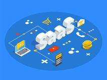 Saas isometric vector illustration. Software as service or on-demand concept background. Cloud computing segment metaphor. stock illustration