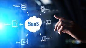 SaaS - logiciel comme service, sur demande Internet et concept de technologie sur l'écran virtuel photo libre de droits