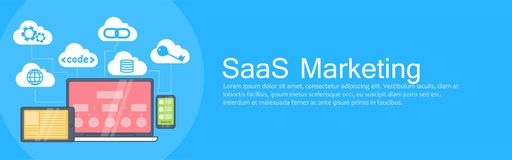 SaaS Marketing Banner. Laptop, tablet and phone, cloud storage with icons Stock Photos