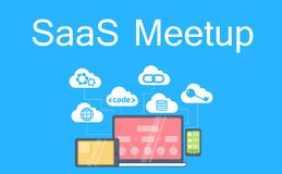 SaaS MeetUP Banner. Laptop, tablet and phone, cloud storage with icons Royalty Free Stock Photo
