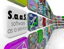 SaaS-Software als Service-Programm-APP deckt Lizenz-Anwendung mit Ziegeln Lizenzfreies Stockbild