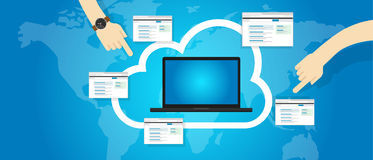 SaaS Software as a Service on the cloud internet. Vector vector illustration