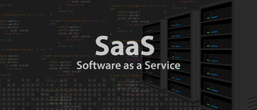 SaaS Software as a service code line of programming internet application. Vector Stock Photography