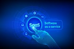 SaaS. Software as a service. Internet and technology concept on virtual screen. Development Concept. SAAS Computing IOT Industry. stock illustration