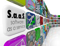 SaaS Software as a Service Program App Tiles License Application Royalty Free Stock Image