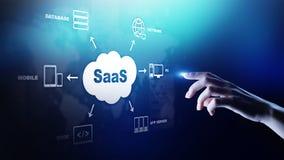 SaaS - software come servizio, a richiesta Concetto di tecnologia e di Internet sullo schermo virtuale fotografia stock libera da diritti