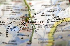 Saas-tarifa en el mapa Imagen de archivo