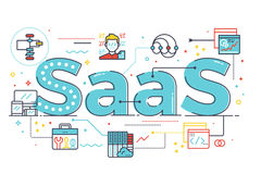 SaaS word illustration. SaaS : Software as a service, word illustration for business concept. Design in modern style with related icons ornament concept for ui Stock Images