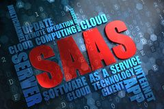 SAAS.  Wordcloud Concept. SAAS - Wordcloud Concept. The Word in Red Color, Surrounded by a Cloud of Blue Words Royalty Free Stock Images