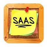 SAAS. Yellow Sticker on Bulletin. Stock Photo