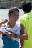 Saaya Hirosawa. PUTRAJAYA, MALAYSIA - OCTOBER 9: Saaya Hirosawa from Japan after showing skills at 2011 IWWF Asian Waterski & Wakeboard Championships in Royalty Free Stock Images