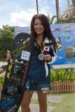 Saaya Hirosawa Japanese water skier. PUTRAJAYA, MALAYSIA - OCTOBER 9: The winners of open ladies tricks at 2011 IWWF Asian Waterski & Wakeboard Championships in Royalty Free Stock Photo