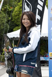 Saaya Hirosawa win the silver medal. PUTRAJAYA, MALAYSIA - OCTOBER 9: The winners of open ladies tricks at 2011 IWWF Asian Waterski & Wakeboard Championships in Royalty Free Stock Images