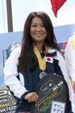 Saaya Hirosawa win the silver medal. PUTRAJAYA, MALAYSIA - OCTOBER 9: The winners of open ladies tricks at 2011 IWWF Asian Waterski & Wakeboard Championships in Royalty Free Stock Photography