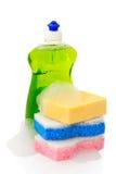 Sabão e esponjas do prato Fotos de Stock