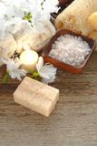 Sabão e sais naturais de banho de Aromatherapy em uns termas foto de stock royalty free
