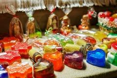 Sabão feito a mão festivo no mercado do Natal de Riga Imagens de Stock