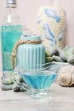 Sabão líquido azul Fotografia de Stock Royalty Free