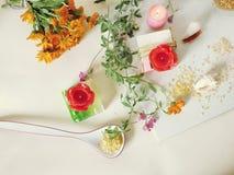 Sabão natural, velas, sal do mar, flores, escudos em um fundo claro fotos de stock royalty free