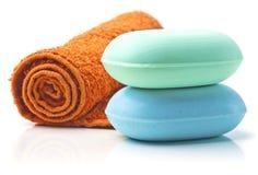 Sabões com toalha. fotografia de stock royalty free
