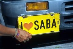 Saba。荷兰人安的列斯车号牌 免版税库存图片