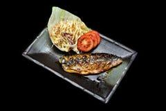 Saba牛排用甜调味汁 与日本传统融合食物样式的烤Saba鱼 库存图片