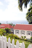 Saba Dutch Netherlands Antilles. Typical house architecture style cottage Windwardside Saba Dutch Netherlands Antilles Caribbean sea view royalty free stock photography
