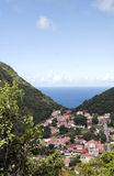 Saba Dutch Netherlands Antilles. Village in valley on Caribbean Sea Saba Dutch Netherlands Antilles Caribbean sea view royalty free stock photography