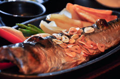 Saba fish steak. The grilled saba fish  steak cooking with Japanese style Stock Photos