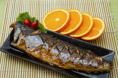 Saba Fish Steak. With slice orange Stock Photos