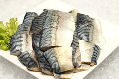 Saba fish on a white plate Stock Photography