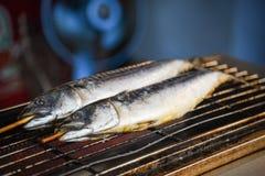 Saba fisk som grillas på gallret som är till salu i gatamatmarknaden på asia royaltyfri bild