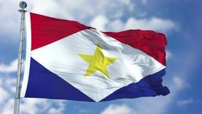 Saba Flag in een Blauwe Hemel Stock Fotografie