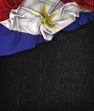 Saba Flag Vintage på en svart tavla för Grungesvart Arkivbild